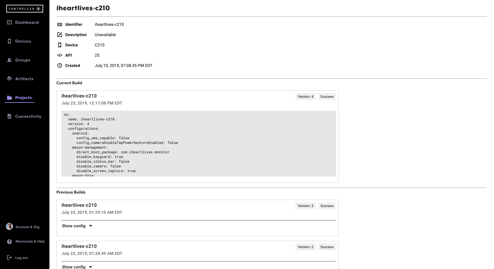 Controller builds for iheartlives-c210